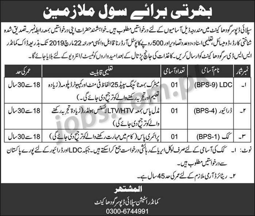 Pak Army Jobs 2019 for LDC Clerk, Driver & Cook Posts at