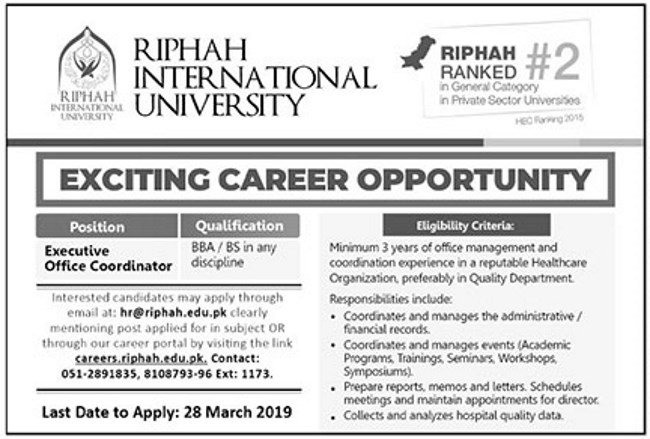 RIPHAH International University Jobs 2019 for Executive