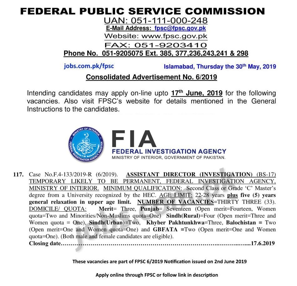 fia jobs june 2019