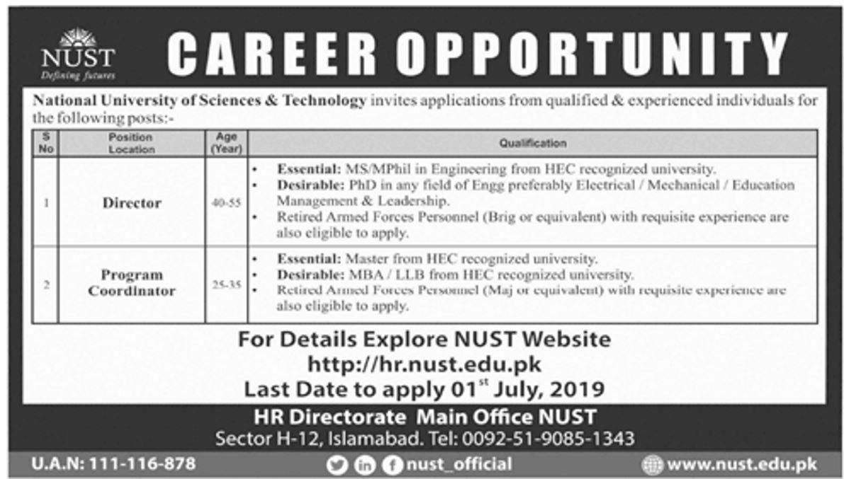 NUST Islamabad Jobs 2019 for Program Coordinator, Director