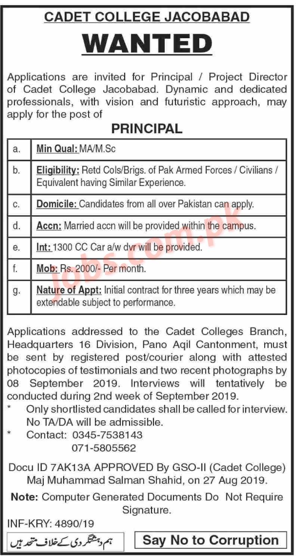 Cadet College Jaccobabad Jobs 2019 For Principal on 31