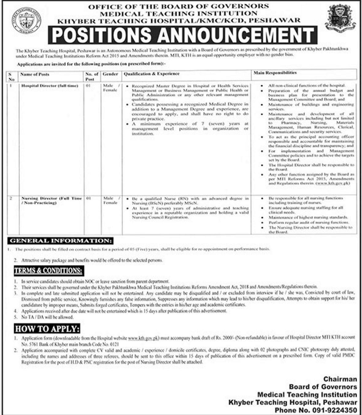Khyber Teaching Hospital Peshawar Jobs 2019 for Hospital Director