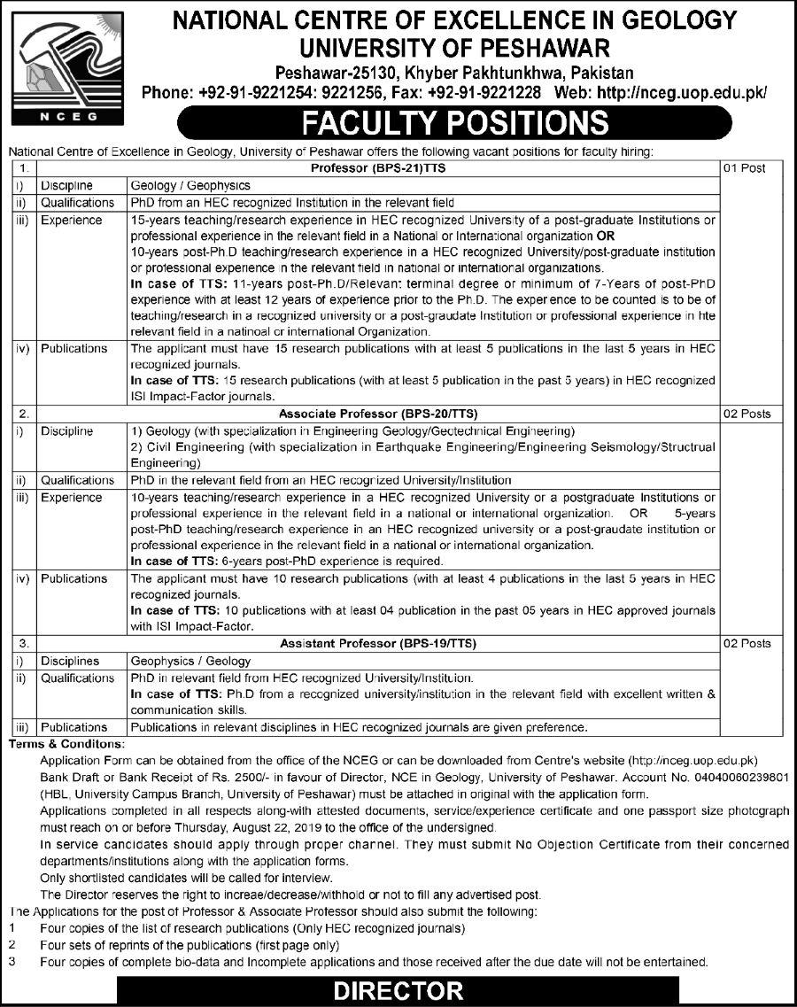 University of Peshawar Jobs 2019 for Teaching Faculty on 7 August