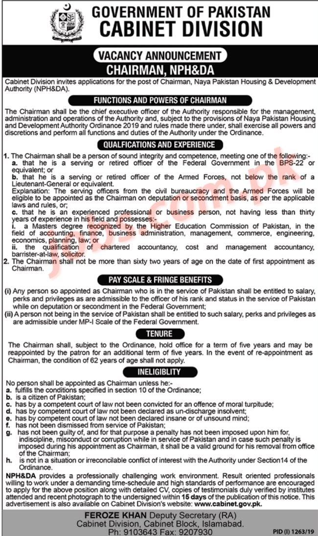 Cabinet Division Islamabad Jobs 2019 for Chairman NPH&DA on