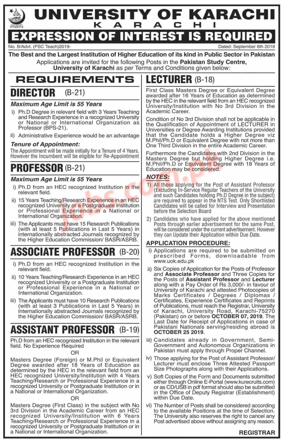 University of Karachi Jobs 2019 for Teaching & Non-Teaching