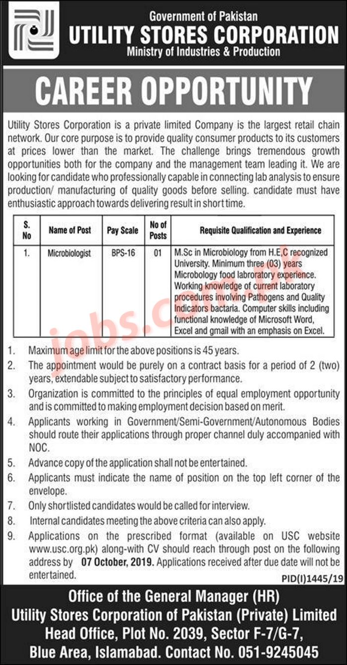 utility stores corporation  usc  jobs 2019 for microbiologist on 19 september  2019