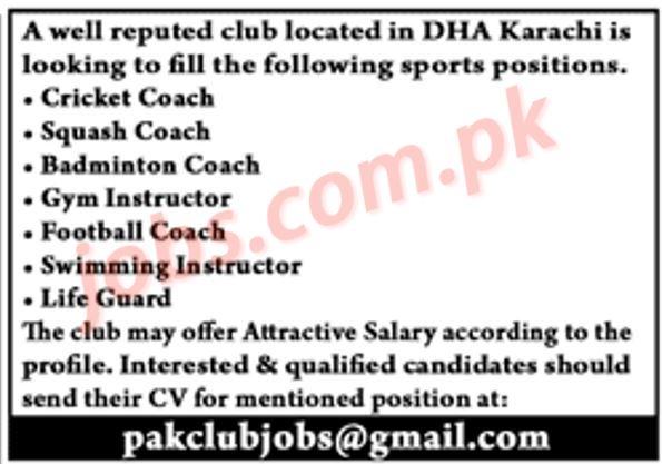 DHA Karachi Jobs 2019 for Coaches, Instructors & Life Guards