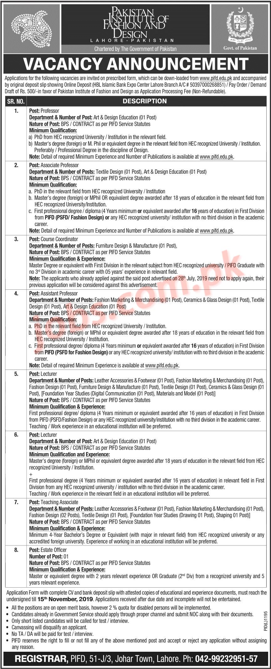 Pakistan Institute Of Fashion Design Jobs 2019 For Latest Teaching Non Teaching Vacancies On 28 October 2019 Paperpk Jobs