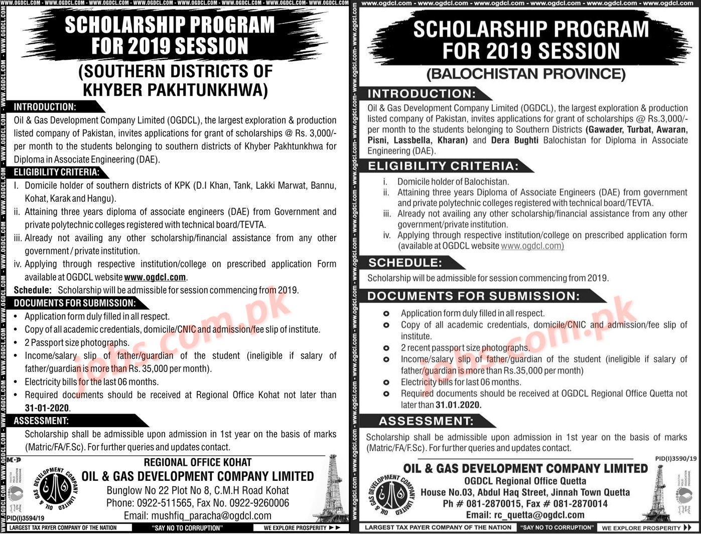 OGDCL Scholarship Programs 2020/21 for Khyber Pakhtunkhwa ...