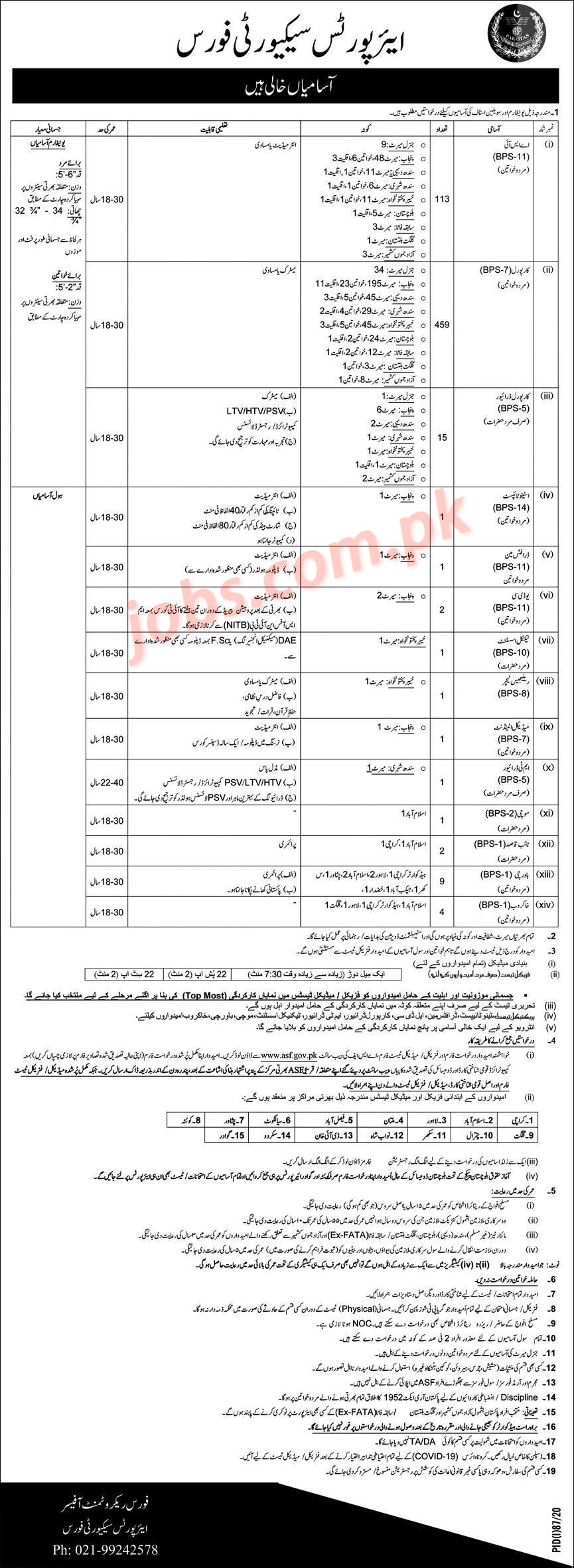 asf jobs 2020 july for asi, corporals, corporal drivers, stenotypist, clerks